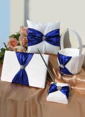 Satin Wedding Collection Set with Royal Blue Ribbon