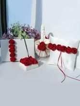 White Satin Wedding Collection Set with Burgundy Flower