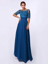 A-line Applique Chiffon Dress