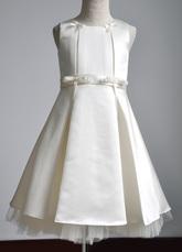 Gioiello bianco ecrù collo Abito da principessa Bow Wedding Flower Girl Dress