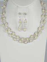 Silber, trendige Perle Strass Hochzeit Ohrringe und Halskette Schmuck-Set