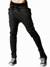 Men Casual Pant Ruched Drop Crotch Deep Gray Harem Pant
