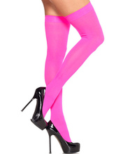 Pink Semi-sheer Nylon Pink Thigh-High