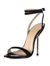 Black Buttons Stiletto Heel Faux Leather Ladies' Dress Sandals