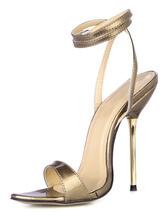 Burgundy Stiletto Heel Patent PU Upper Dress Sandals