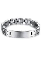 Unique Glossy Silver Stainless Steel Bracelet for Men