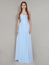 Vestido de Dama de honra azul pastel do Chiffon Ruched festa  Vestidos de Convidados para Casamento