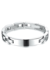 Popular Carbon Fiber Stainless Steel Men's Chain Bracelet