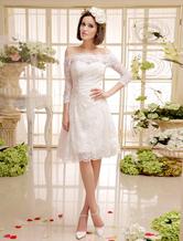 Короткое свадебное платье с бисером кружева Off-плечи Milanoo