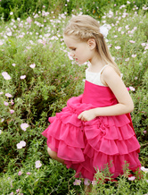 Flower Girl Dress Rose Boho Tiered Beading Lace Kids Party Dresses