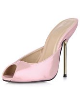 Mules Shoes Peep Toe Heel For Womens Pink Leather Heel Shoes