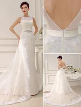 Vestido de noiva com cauda em organza e cetim com detalhes em renda e pedras Milanoo