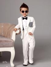Weißer Junge Anzüge Suit Hochzeit Smoking Jacke Hosen Shirts Fliege Kinder Formelle Kleidung 4 Stück Ring Bearer Suit Set