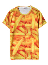 Camiseta con estampado de papas fritas en 3D