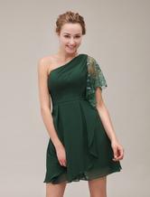 ae0128eae5a4 ... One-spalla pieghe moda Backless abito corto per la madre della sposa  Abiti per Ospiti ...