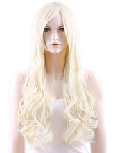 Anime Costumes AF-S2-470959 Sexy Ecru White Heat-resistant Fiber Curly Woman's Long Wig