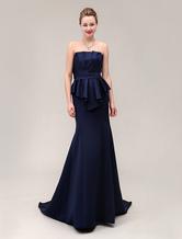 Strapless pregas assoalho-comprimento faixa cetim vestido para mãe da noiva