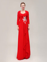 Cost-effective Chiffon Lace Beaded Dress For Mother Of The Bride with Cascading Ruffle Sweetheart Neck Floor-Length