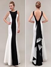 black prom dresses 2020 Color Block backless  fishtail evening gown Mermaid Ruffles formal dresses