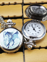 Relógio de bolso de padrão personalizado casamento cavalo com espelho