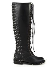 Botas de cuero negro con pinchos JKqTOb1P