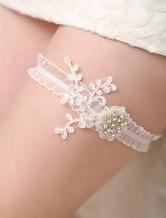 Ivory Organza Wedding Garter With Beads Detailing