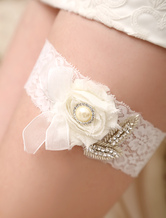 Ivory Lace Wedding Garter With Bow Detailing