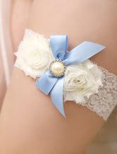 Ivory Lace Bows Flowers Bridal Wedding Garter