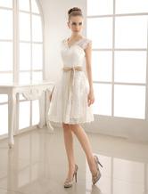 V-образным вырезом атласная & кружева короткое свадебное платье с поясом
