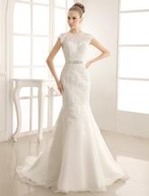 Vestido de noiva marfim sereia em organza e renda com cauda e cinto Milanoo