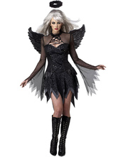 Anime Costumes AF-S2-479465 Halloween Black Angel Costume Sexy Gathered Bust Dress