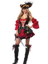 Halloween Kostüm Piratenkostüm Karneval Faszinierendes Piraten Kostüm in Rot Faschingskostüme