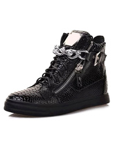 Black Skate Shoes 2020 Mens Sneakers Round Toe Snake Pattern Chain Detail High Top Lace up Sneakers