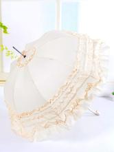 Lolitashow Sweet Beige Lolita Parasol Umbrella Multi-layered Ruffles Dual-use