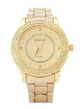 Stainless Steel Watch with Rhinestone Detailing