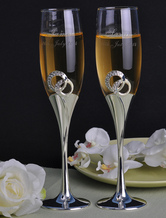 Personalized Wedding Toasting Flutes with Rhinestones ( A Pair )