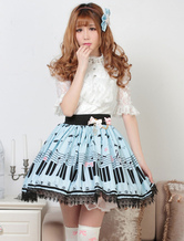 Vestido de Nota de Piano doce impressa Lolita saia Lace Trim