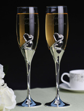 Personalized Wedding Toasting Flutes with Double Hearts ( A Pair )