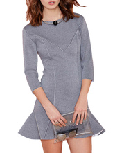 Gray Scoop Neck Flared Dress