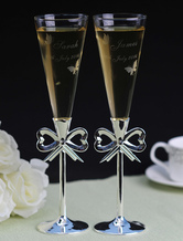 Personalized A Pair Of Toasting Flutes with Bow Design