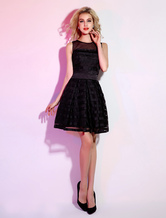 Black Short Cocktail Dress with Jewel Neck Piping Tulle