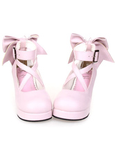 Sweet Lolita Shoes Platform Heels Bow Round Toe Cross Front Lolita Pumps