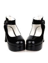 Lolitashow Glossy Black High Chunky Heels Lolita Shoes Platform Ankle Strap Buckle