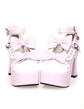 Lolitashow Platform Lolita High Heels with Bow Decor