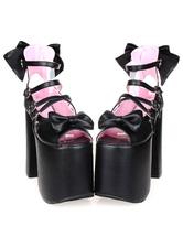 Lolitashow Bows Decor Platform Lolita High Heels