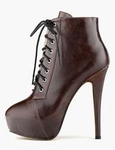 Высокие каблуки Booties Brown Платье зашнуровать сапоги Женские ботильоны