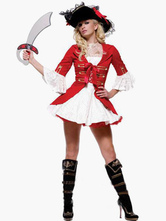 Anime Costumes AF-S2-495969 Halloween Ruffles Mini Dress Red Women's Pirate Costume
