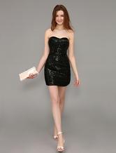 Short Sequined Sweetheart Sheath Little Black Dress