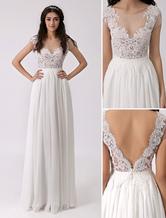 Глубокий V назад пляж свадебное платье с чистой кружевной лиф