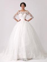 Fuori l'abito da sposa principessa spalla pizzo con illusione scollo Milanoo